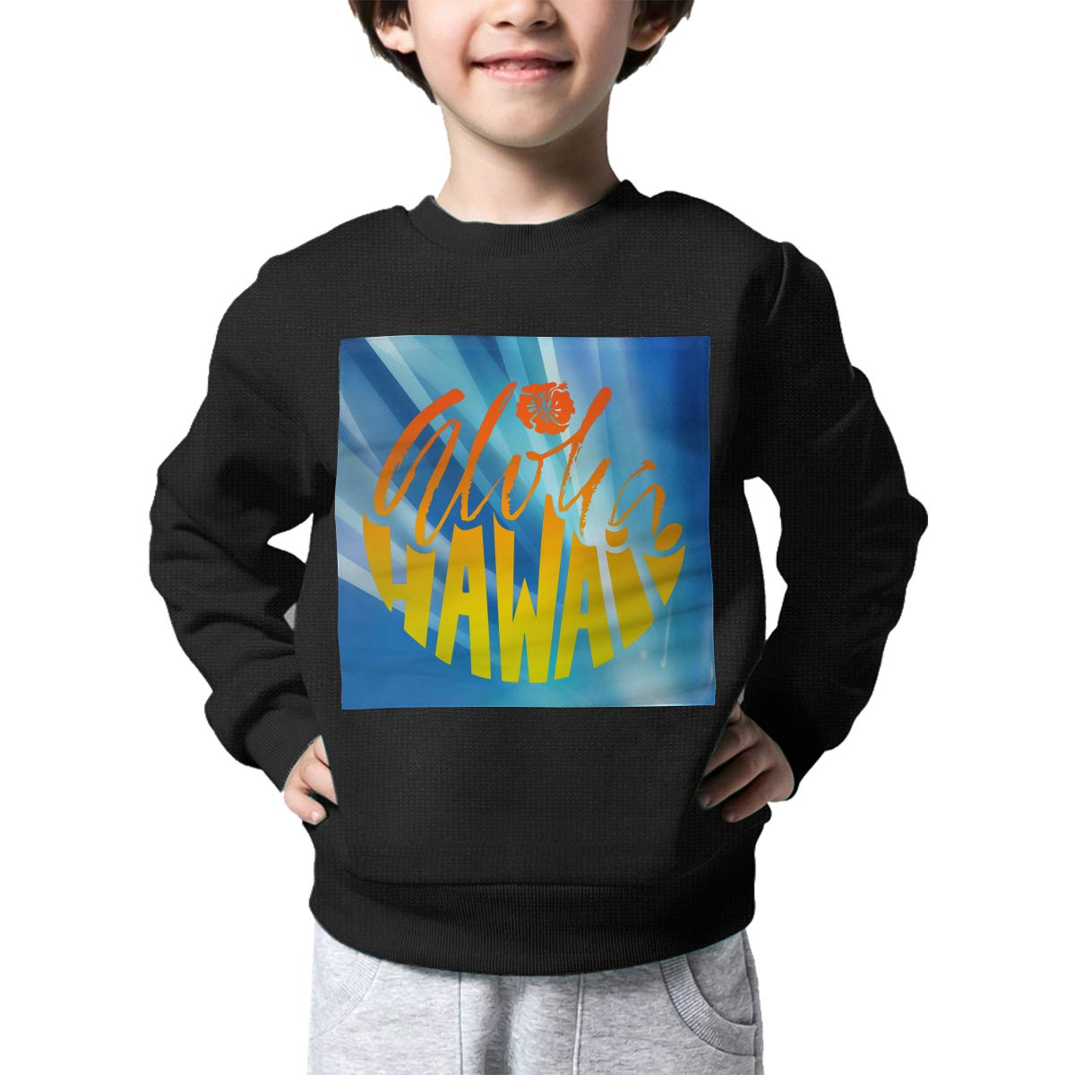 Aloha Hawaii Printed Toddler Childrens Crew Neck Sweater Long Sleeve Soft Knitted Jumper Top