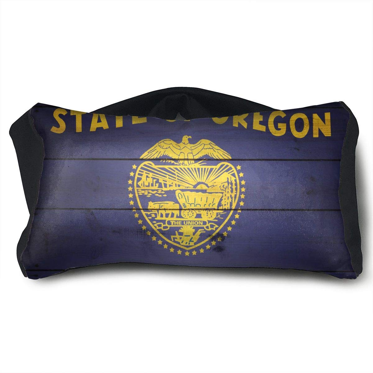 GLing-LIFE Oregon State Flag Wood Texture Portable Voyage Pillow Travel Pillow and Eye Mask 2 in 1 Neck Head Support for Airplanes, Cars, Office Naps, Camping, Trains