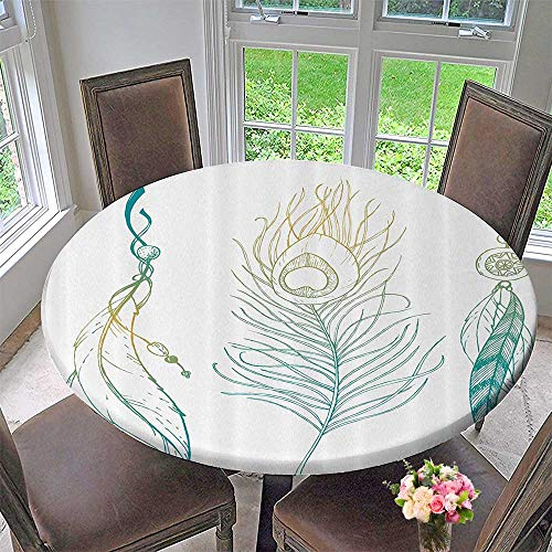 Mikihome Round Table Tablecloth Aesthetic First Natis Feather and Peacock Tail Traditial 31.5