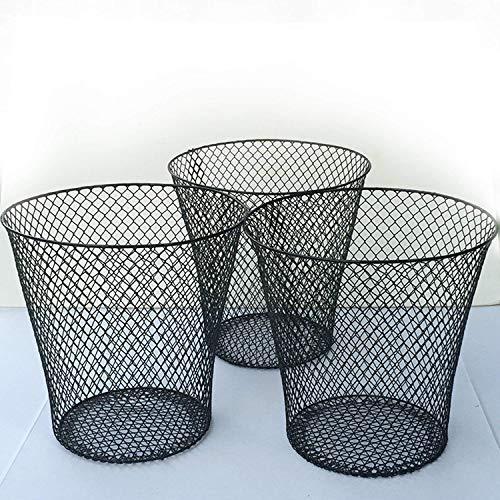 (Black Wire Mesh Round Waste Basket (3 Pack), Set of)