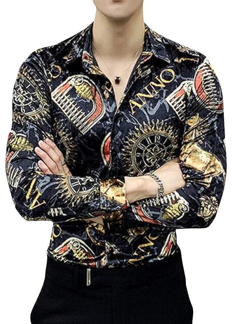 Suncolor8 Mens Velvet Slim Fit Long Sleeve Floral Print Warm Thicken Button Down Blouse Shirt