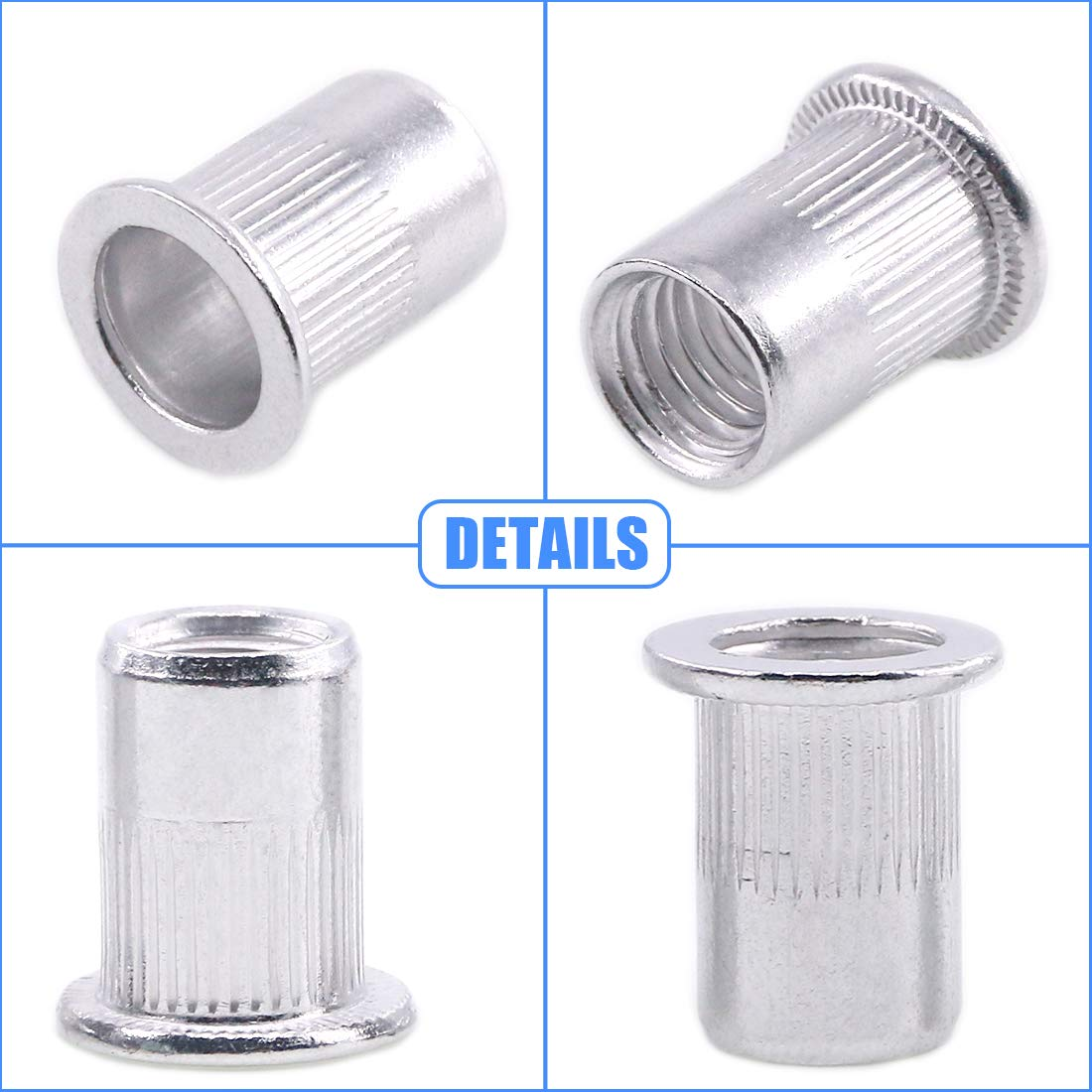 Glarks 110Pcs Aluminum Alloy M3 M4 M5 M6 M8 M10 Flat Head Metric Threaded Rivetnut Insert Nutsert Rivet Nut Assortment Kit