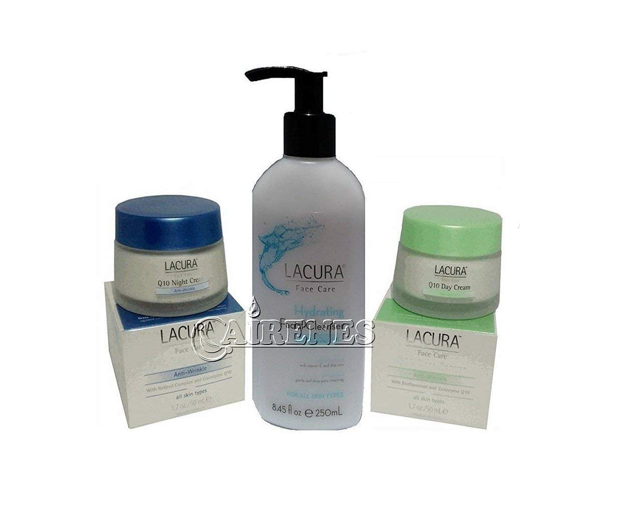 Lacura Face Care Q10 Renew Anti-Wrinkle Day Cream + Lacura Q10 Anti-Aging Night Cream + Lacura Hydrating Facial Cleanser. (3 Pack)