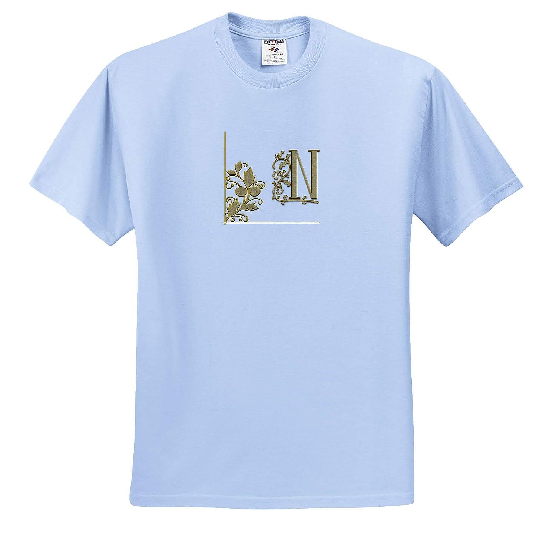 Monogram Yellow Ornament Radiant Initial N Elegant Yellow Floral Ornament Monogram 3dRose Alexis Design T-Shirts