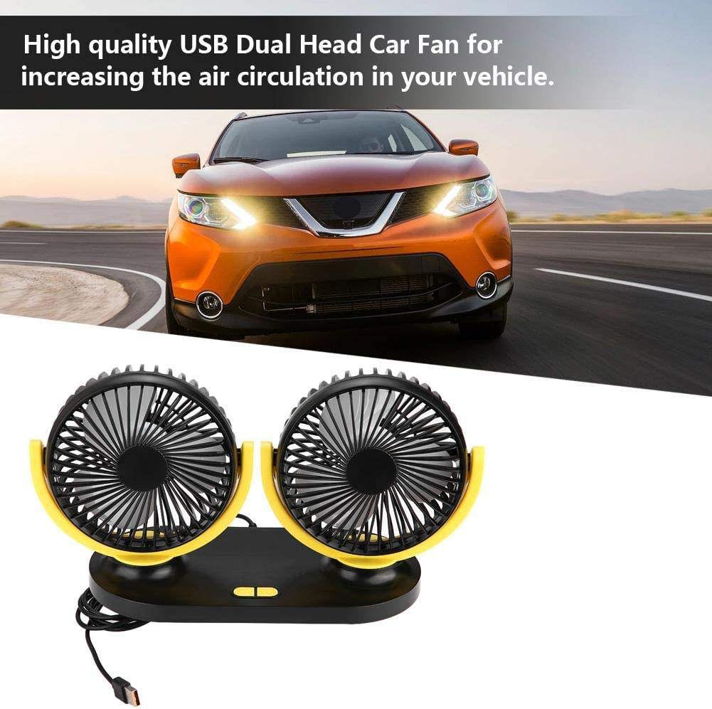 Grayish yellow Car Fan,Fydun Cooling Air Fan 3 Speed 12V Adjustable Strong Wind Air Dual Head Mini Fan Portable Air Conditioner Auto Cooler Ventilation Auto for Home Office Traveling Or Hiking