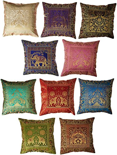 Jaipur Textile Hub 10 Pc Lot Square Silk Home Decor Cushion Cover, Indian Silk Brocade Pillow Cover, Handmade Banarsi Pillow Cover 16 X 16 Inch JTH-CS-FBA1