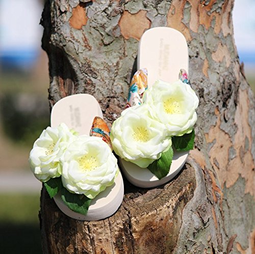 Mujer SCLOTHS Flores con seaside Chanclas Green Piso PwfRw4Zq