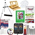 "US Art Supply 72-Piece Deluxe Acrylic Painting Set with, Aluminum Floor Easel, Wood Drawer Table Easel, 24-Tubes Acrylic Colors, 9""x12"" Acrylic Painting Paper Pad, 6-each 8""x10"" Canvas Panels, 2-each 11""x14"" Stretched Canvases, 34 Artist Brushes, Plastic"