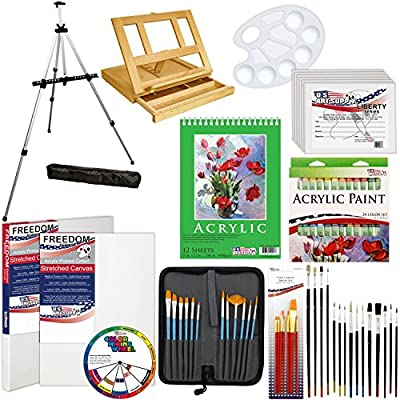 """US Art Supply 72-Piece Deluxe Acrylic Painting Set with, Aluminum Floor Easel, Wood Drawer Table Easel, 24-Tubes Acrylic Colors, 9""""x12"""" Acrylic Painting Paper Pad, 6-each 8""""x10"""" Canvas Panels, 2-each 11""""x14"""" Stretched Canvases, 34 Artist Brushes, Plastic"""