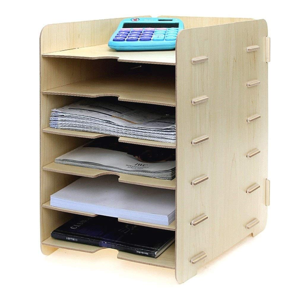 SCWJJ Gray Wood Desk Organizer with 6 Storage Paper File Holder for Home and Office 240mmx320mmx350mm (Color : B) by SCWJJ