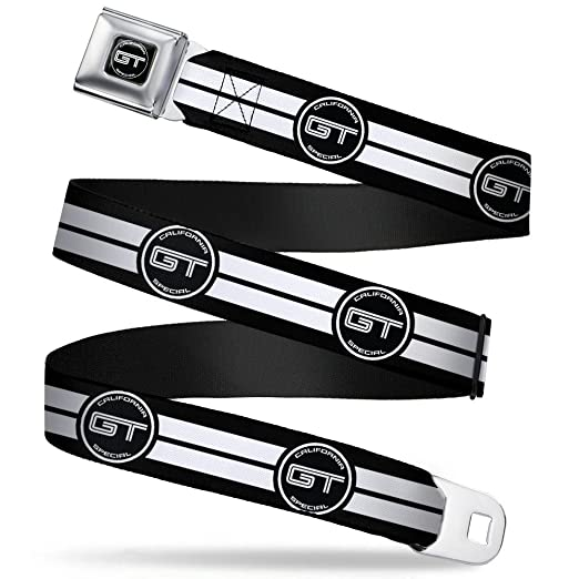 FORD GT CALIFORNIA SPECIAL Emblem Stripe Black//Gray//Silvers 32-52 Inches in Length Buckle-Down Seatbelt Belt 1.5 Wide