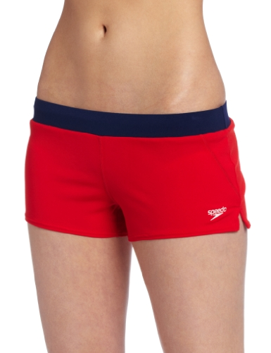 Speedo Women's Guard Endurance Lite Swim Short, Red, Medium