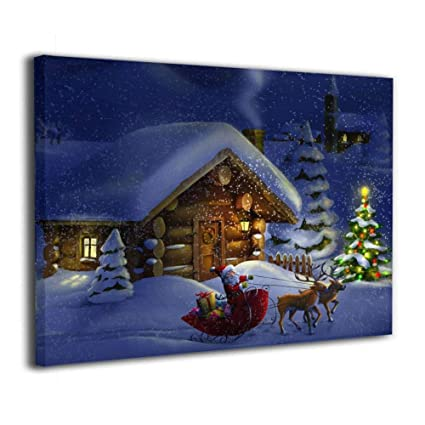 JAWANNA Christmas Wallpaper Oil Canvas Paintings Modern Artwork Wall  Decorations Classical Dining Room, Bathroom,