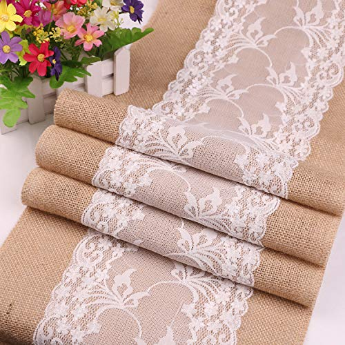 Polymer Craft Wedding Decor Burlap Lace Table Runner Rectangle Tablecloth Jute Hessian (White)