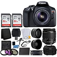 Canon EOS Rebel T6 Digital SLR Camera + Canon EF-S 18-55mm f/3.5-5.6 IS II Lens + SanDisk 64GB Card + 2x Lens 58mm & Wide Angle Lens + Extra Battery + 3 Piece UV Filters + Gadget Bag + Deluxe Bundle