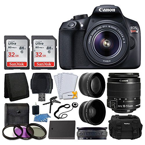 Cheap Canon EOS Rebel T6 Digital SLR Camera + Canon EF-S 18-55mm f/3.5-5.6 IS II Lens + SanDisk 64GB Card + 2x Lens 58mm & Wide Angle Lens + Extra Battery + 3 Piece UV Filters + Gadget Bag + Deluxe Bundle