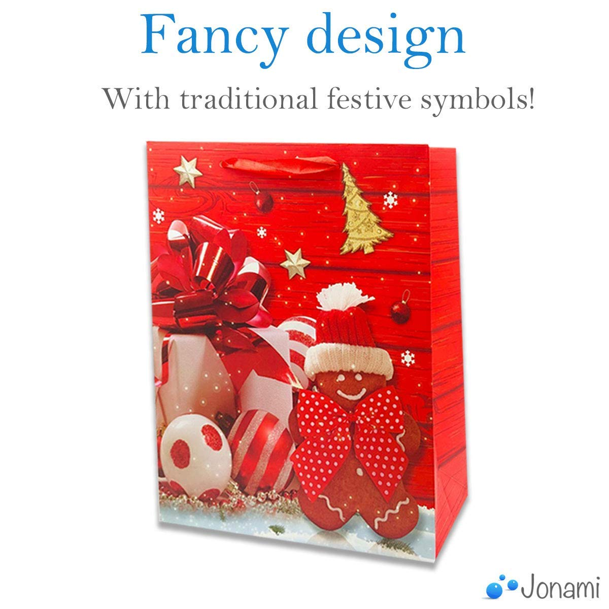 Gift Wrap and Party Favours Gift Bags Christmas Stocking Stuffers 12 Pack 24x18x8cm Gift Bags with 4 Winter Design for Christmas Presents