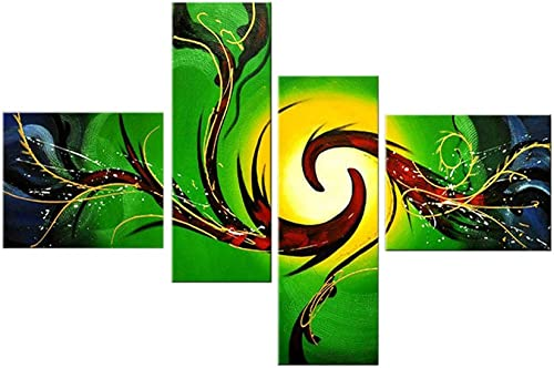 Noah Art-Modern Abstract Art, 100 Hand Painted with Acrylic Abstract Oil Paintings on Canvas Wall Art, 4 Piece Green and Yellow Abstract Paintings for Bedroom Wall Decor