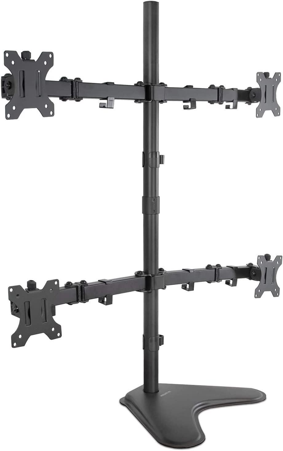 Mount-It! Quad Monitor Stand | Height Adjustable Free Standing 4 Screen Mount | Fits Monitors up to 32 Inches | Black, Steel | MI-2784