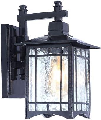 LDDENDP Aplique retro impermeable exterior LED Adecuado para balcón Patio Jardín Luz Pasillo Pasillo Puerta Puerta Iluminación exterior E 27 Negro Lámpara de pared anticorrosión resistente a la humeda: Amazon.es: Iluminación