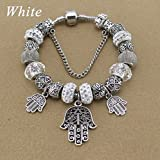 New 18CM Sapphire Crystal Beads Hamsa Hand Charm Bracelets & Beads Bracelets for Women Jewelry