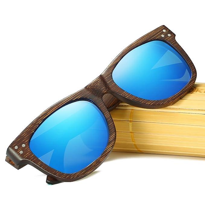 KITHDIA Polarizadas Gafas de Madera de Bambú Gafas de Sol Lentes de madera vintage y espejos