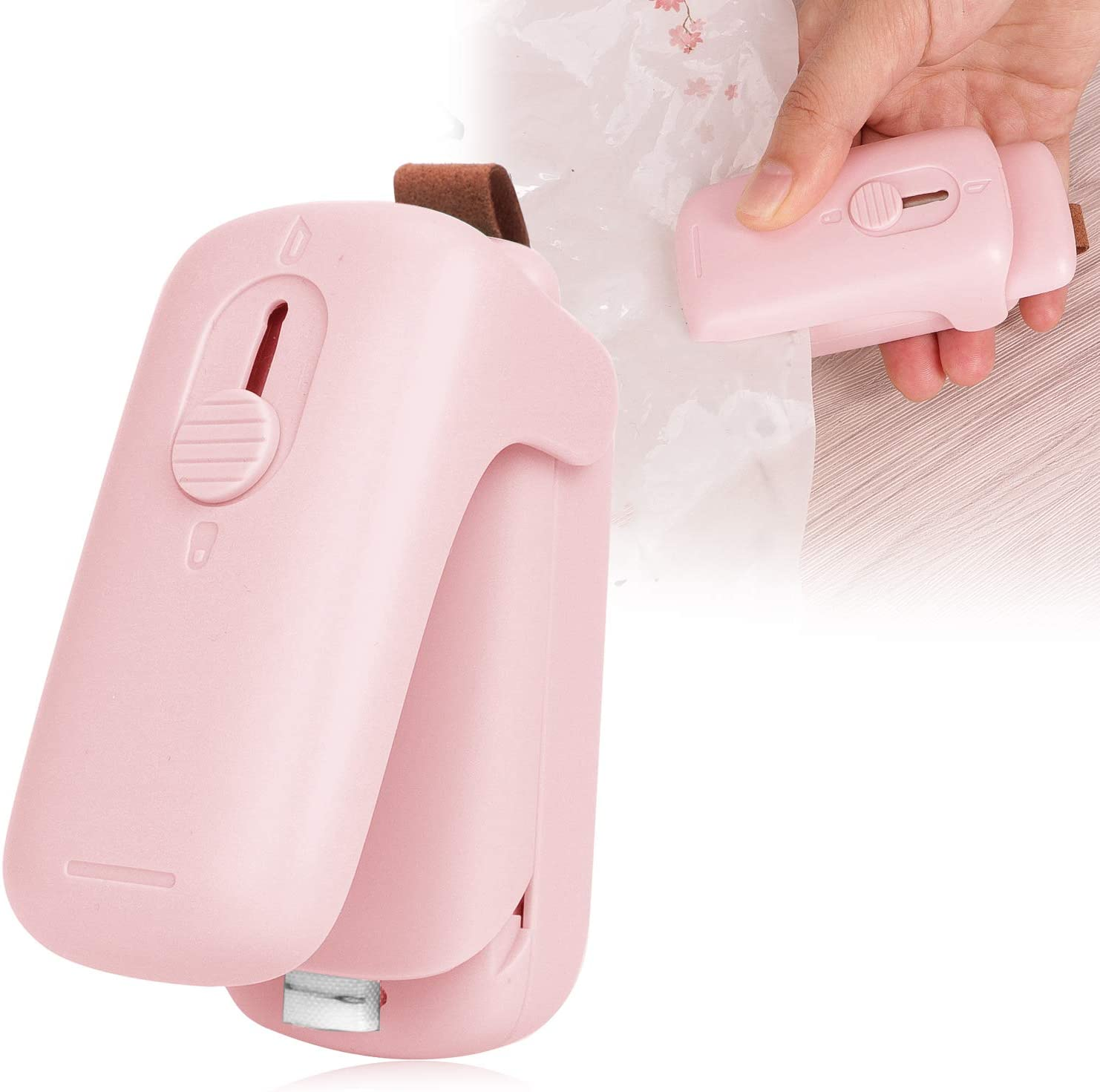 Portable Mini Heat Sealer and cutter 2 in 1 Handheld,Food Bag Resealer,Sealing Machine for Plastic Bags Food Storage Snack Fresh or Chip Saver (Pink)