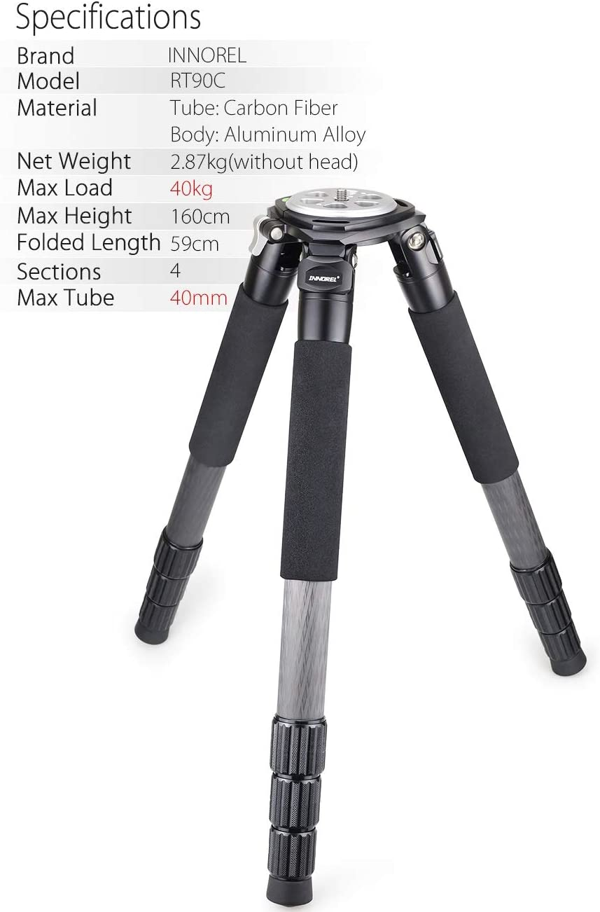 40mm Leg Tube Ultra Stable Professional Camera Tripod Max Load 88 Pounds//40kg Camera Stand Carbon Fiber Bowl Tripod INNOREL RT-90C Heavy Duty Bowl Tripod with 75mm Bowl and Bowl Adapter