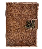Handmade Leather Journal Diary Embossed with Peacock Motif for Writing, Sketching, Drawing - Aheli
