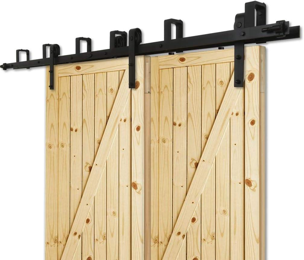 228cm(7.5FT) Kit de guía para puerta corredera Bypass Ferretería Polea de Rail suspendida sistema de puerta interiores en madera granero armario cuarto de, negro