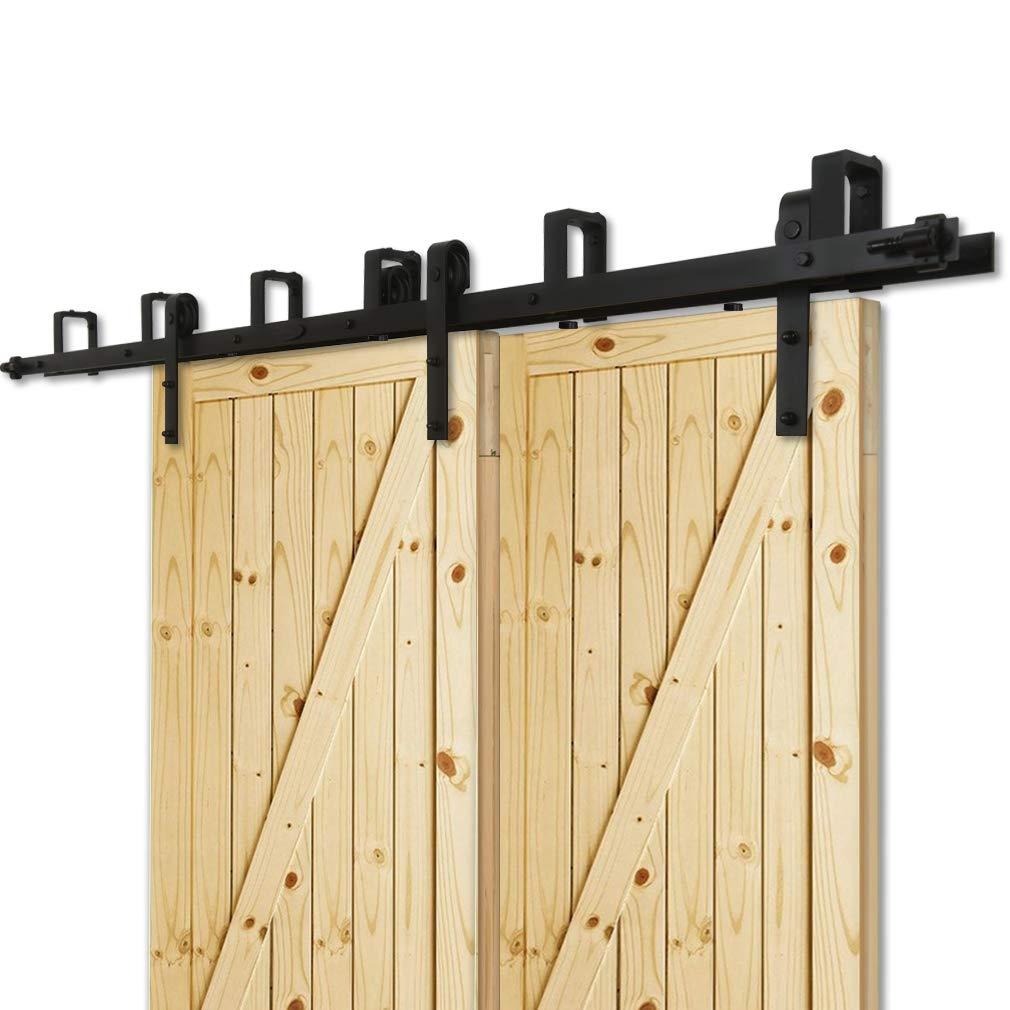 Kit de gu/ía para puerta corredera Bypass Ferreter/ía Polea de Rail suspendida sistema de puerta interiores en madera granero armario cuarto de 7.5FT 228cm negro