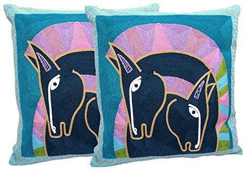 BDJ 100% Cotton Picasso Art Embroidered Throw Pillow Case Cushion Cover 18 x 18 Inches Set of 2 - Union Target Square