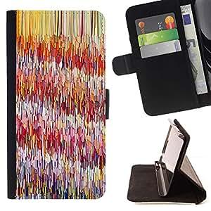 For Apple (5.5 inches!!!) iPhone 6+ Plus / 6S+ Plus Case , Líneas Patrón rosado abstracto Pintura- la tarjeta de Crédito Slots PU Funda de cuero Monedero caso cubierta de piel