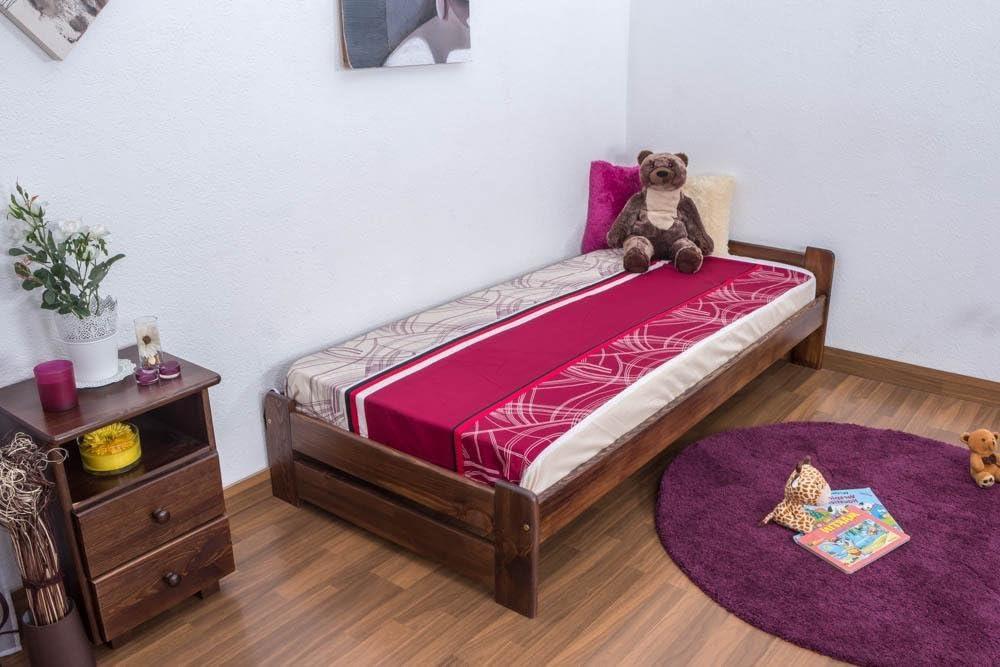 Cama futón (Pino 90 x 200 cm nogal con somier: Amazon.es ...