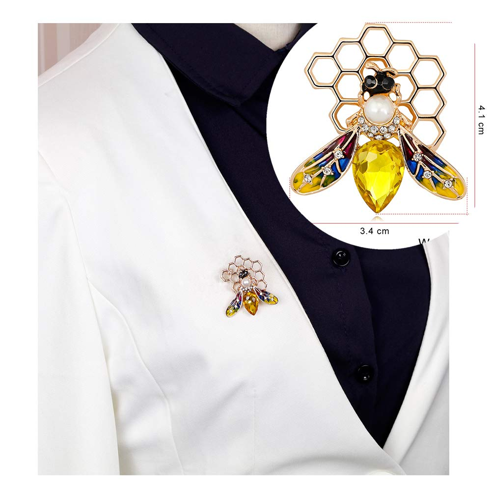 Dwcly Fashion Yellow Enamel Bumble Bee with Honeyhive Brooches for Women Rhinestone Honeybee Bee Broach Pin Honeycomb Clothes Jewelry (2)
