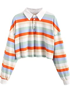 Ladies Casual Striped Turn Down Collar Long Sleeve Sweatshirt Tops Clothes Cold Shoulder Blouse Cool Pullovers Ladies Crop Top Ladies Gray