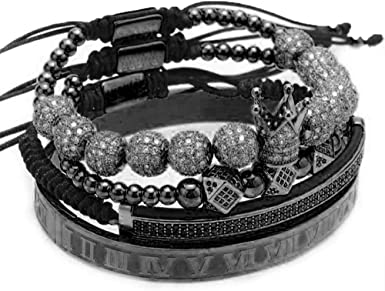 The Lux Total Black Out Crown Beaded Bracelet Set