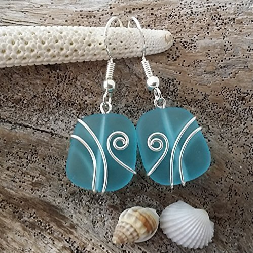 Handmade in Hawaii ,wire wrapped turquoise bay blue sea glass earrings, sterling silver hooks, Hawaiian Gift, FREE gift wrap, FREE gift message, FREE shipping from yinahawaii