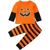 Charmemory Conjunto de 2 Piezas de Calabaza recién Nacido, bebé, niña, Halloween, Rayas, Mangas largas, Pantalones, Ropa