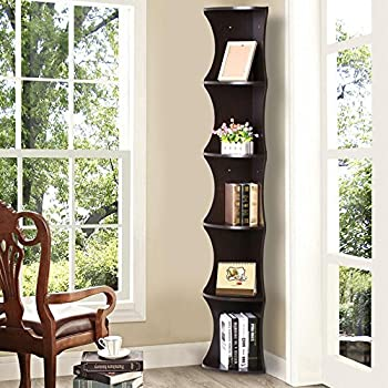 Yaheetech 5 Tier Brown Round Wall Corner Shelf Skinny Display Rack Casual  Home Office Furniture