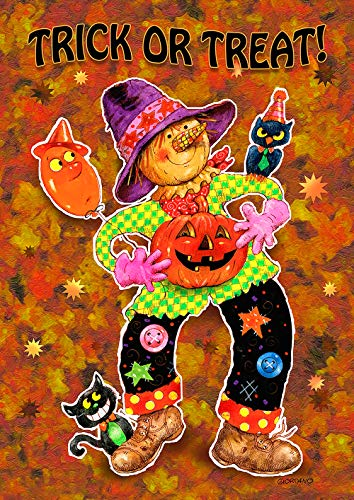 Toland Home Garden 1112212 Trick or Treat 12.5 x 18 Inch Decorative, Fall Autumn Halloween Scarecrow, Garden Flag