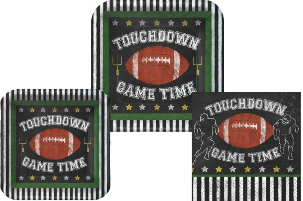 Football Game Time Party Supplies Pack: Bundle Includes Dinner Plates, Dessert Plates and Lunch Napkins for 18 Guests