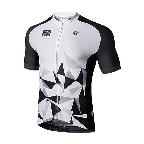 22b3076615b Amazon.com   Santic Cycling Jersey Men s Short Sleeve Tops Mountain Biking  Shirts Bicycle Jacket with Pockets   Sports   Outdoors