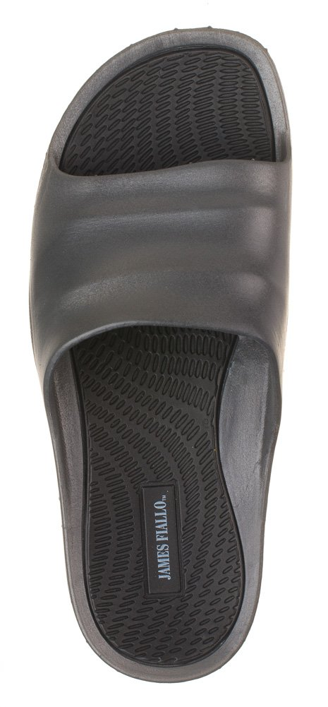 J. Fiallo Mens New Slide Beach Sandal Slippers in 3 Classy Colors (11, Grey/Black)