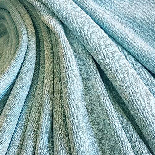 Tela por metros, rizo de rizo, azul claro, bambú, viscosa, ropa suave, toalla de mano: Amazon.es: Juguetes y juegos