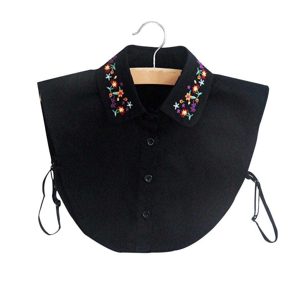 BeToper Mujeres Cuello Desmontable Mitad Camiseta Blusa en algodó n Color Blanco, Negro