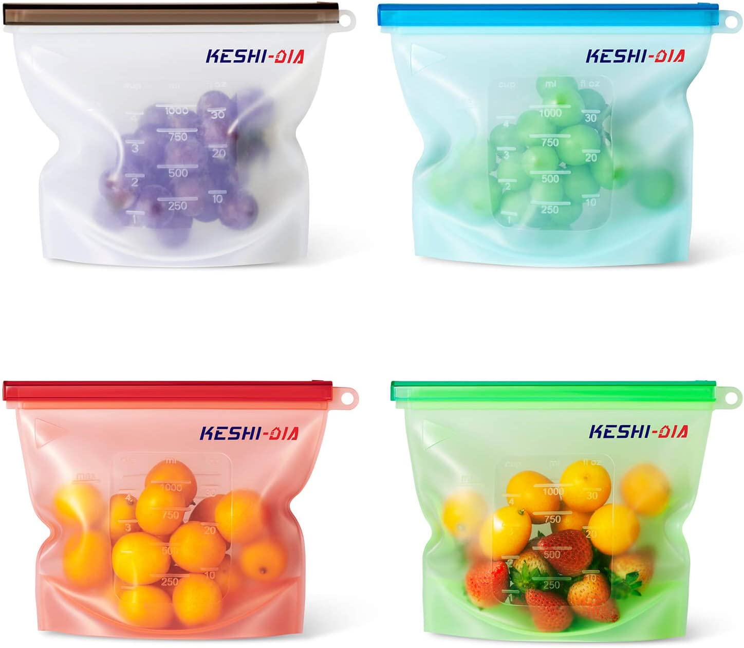 Reusable Silicone Food Storage Bag, Airtight Seal Sous Vide Preservation Container for Cooking, Fruits, Vegetables, Sandwich and Meats, FDA Grade BPA Free (4 pack of 30 oz)