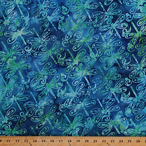 Field's Fabrics Cotton Dragonflies Dragonfly Flying Insects Bugs Wings Blue Green Cotton Batik Fabric Print by The Yard (16204)