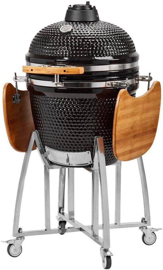 Humos Ceramic Kamado Charcoal Grill, BBQ & Smoker Egg Versatil Outdoor 3 in 1 Black (21 inch)