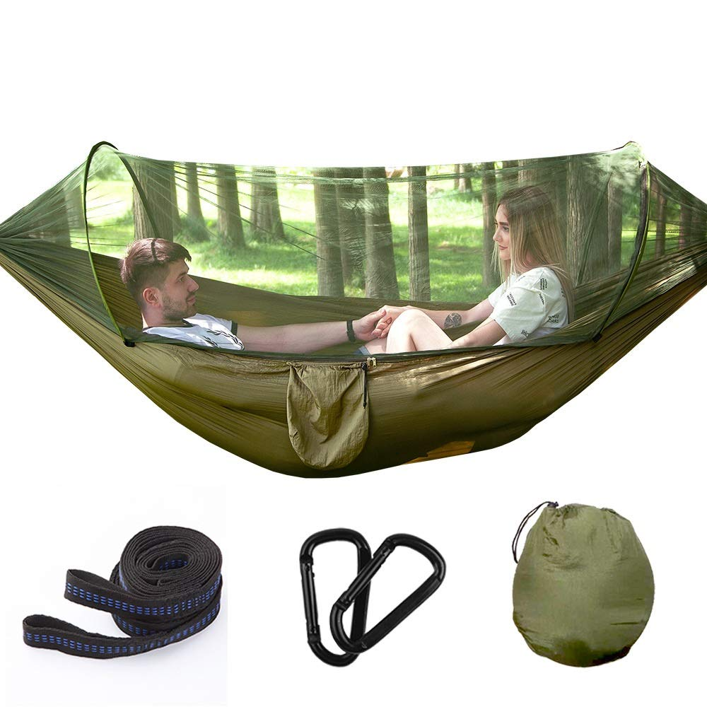 DZWLYX Camping Hammock with Mosquito Net Portable Hammock Ultralight Parachute Nylon 2 Person Travel Hammock for Camping, (260 X 140 cm) Hiking (Color : Picture one) by DZWLYX